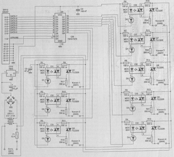 Микросхема CI9 типа 74НСТ573 с